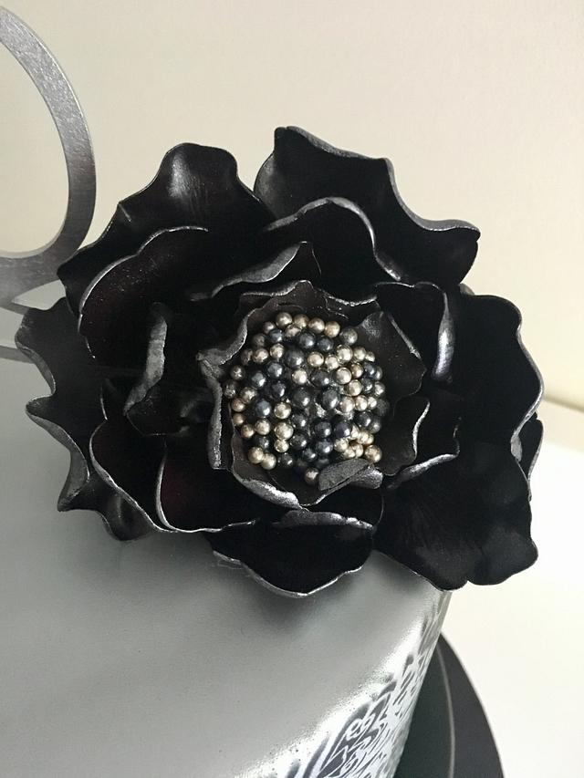 Black and silver with Black Peony