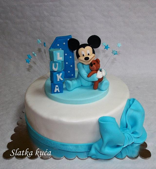 Superb Baby Mickey Mouse For 1St Birthday Cake By Slatkakuca Cakesdecor Funny Birthday Cards Online Alyptdamsfinfo