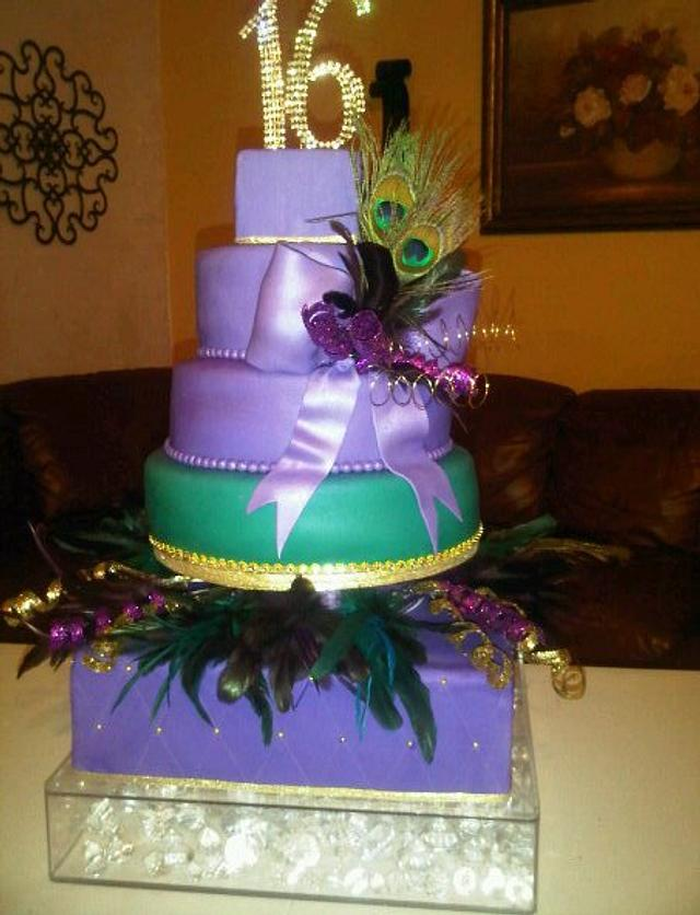 Sweet Sixteen Peacock Color Cake