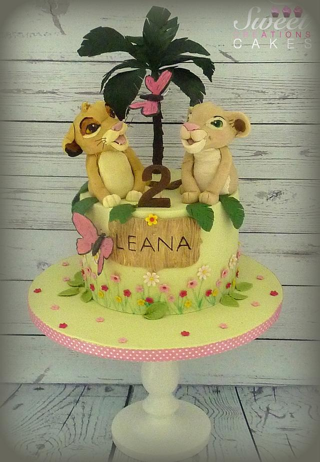 Outstanding Simba And Nala Lion King Birthday Cake Cake By Sweet Cakesdecor Funny Birthday Cards Online Fluifree Goldxyz
