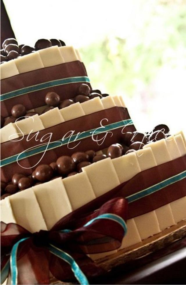 Chocolate Shards Wedding Cake