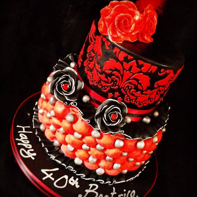 Admirable Black And Red Birthday Cake Cake By Dee Cakesdecor Funny Birthday Cards Online Bapapcheapnameinfo