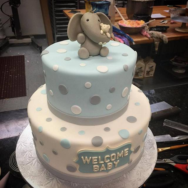 Baby Shower Cake With Baby Elephant
