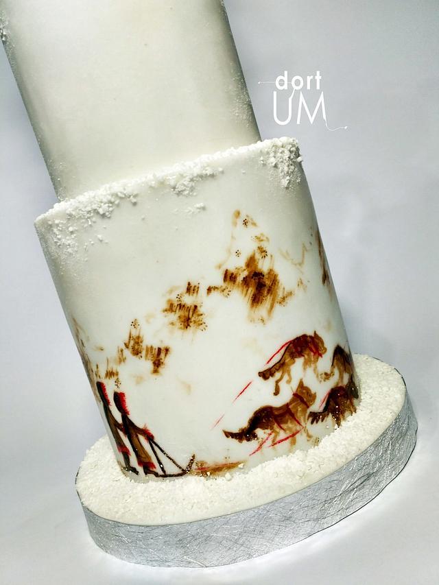 Wedding cake for do sledding lovers