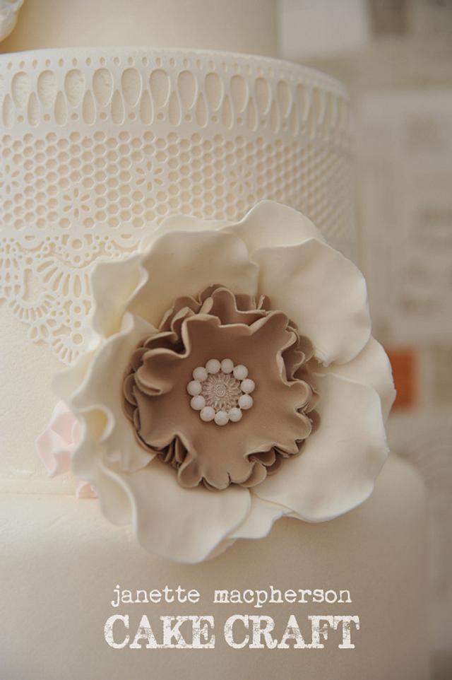 Vintage Rosettes & Lace Wedding Cake