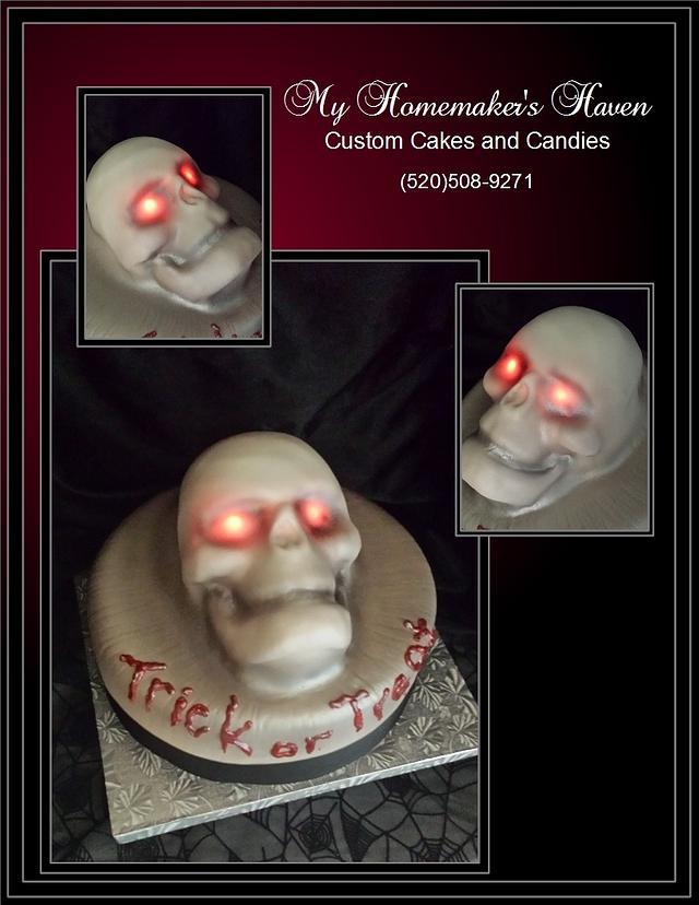 Glowing Eyes Emerging Skull Cake