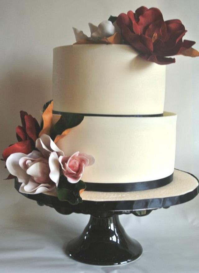 Simple Magnolia Bridal Shower Cake