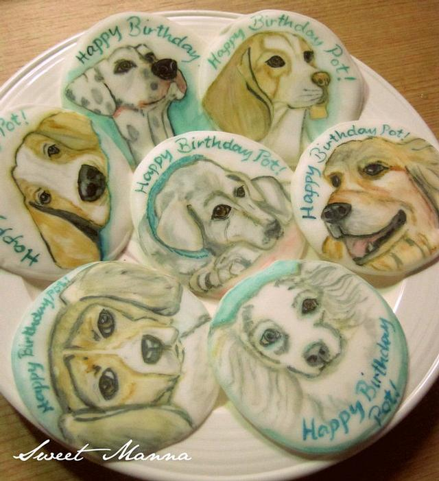 Chocolate Cupcakes with Hand Painted Dog Toppers