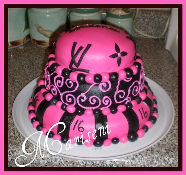 Louis Vuitton Inspired Sweet 16 Birthday Cake