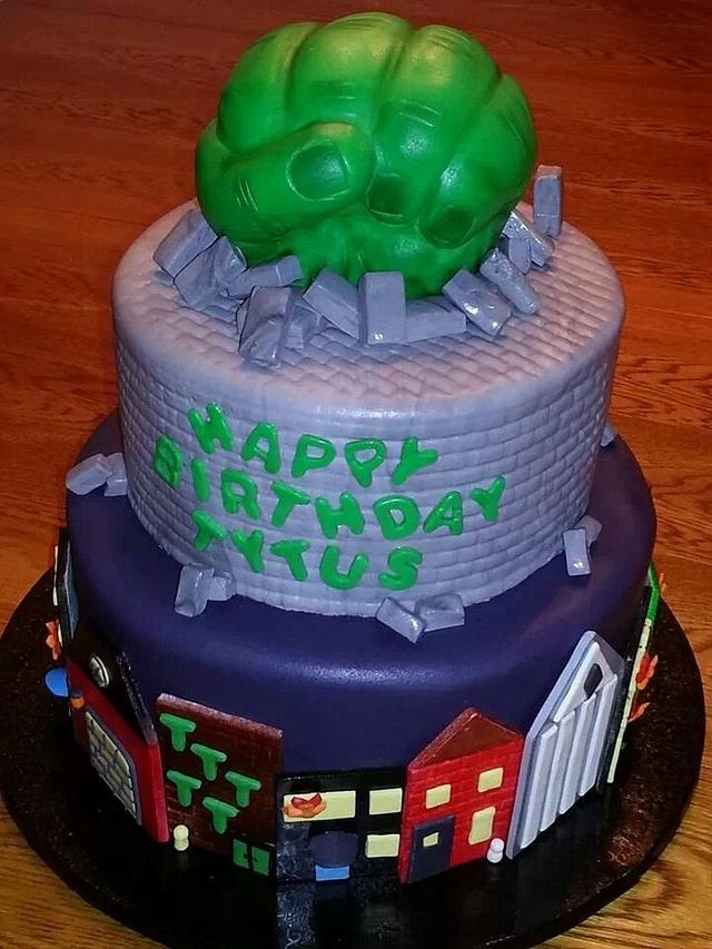 Swell Incredible Hulk Themed Birthday Cake Cake By Tammi Cakesdecor Funny Birthday Cards Online Chimdamsfinfo