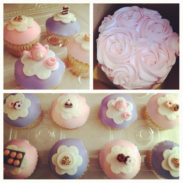 Tea Party Cupcakes wtih mini Rosette Cake