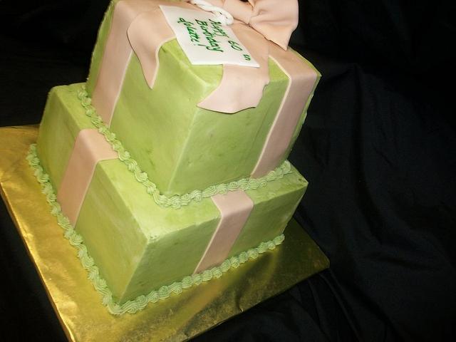 Sage Green & Beige Gift Box Cake