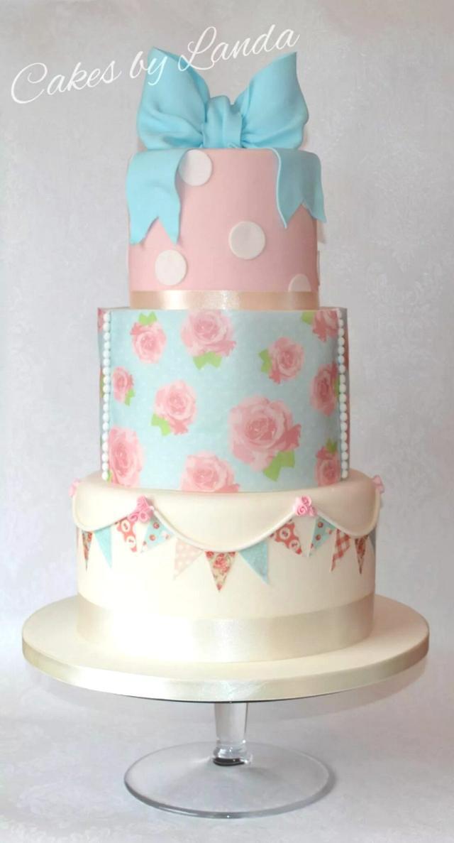 Vintage Cath Kidston inspired wedding/christening cake