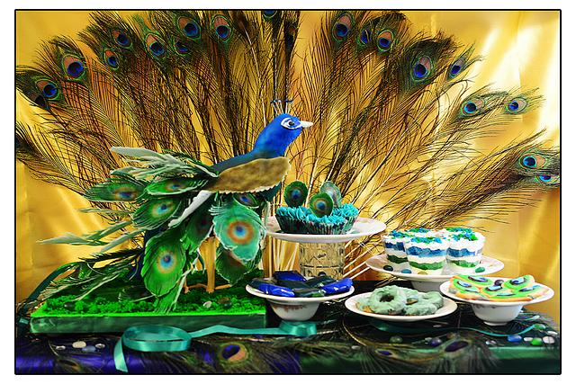 PDCA Caker Buddies Dessert Table Collaboration - Peacock