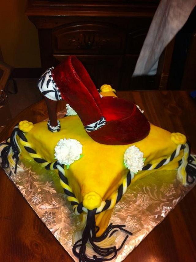 Gum paste shoe on a pillow cake!!
