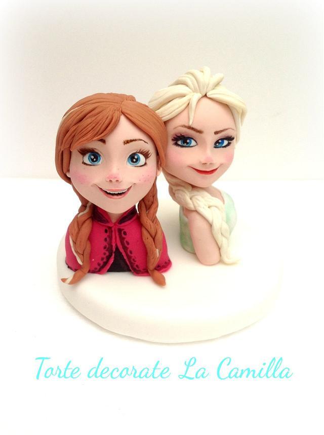 Elsa & Anna cake topper