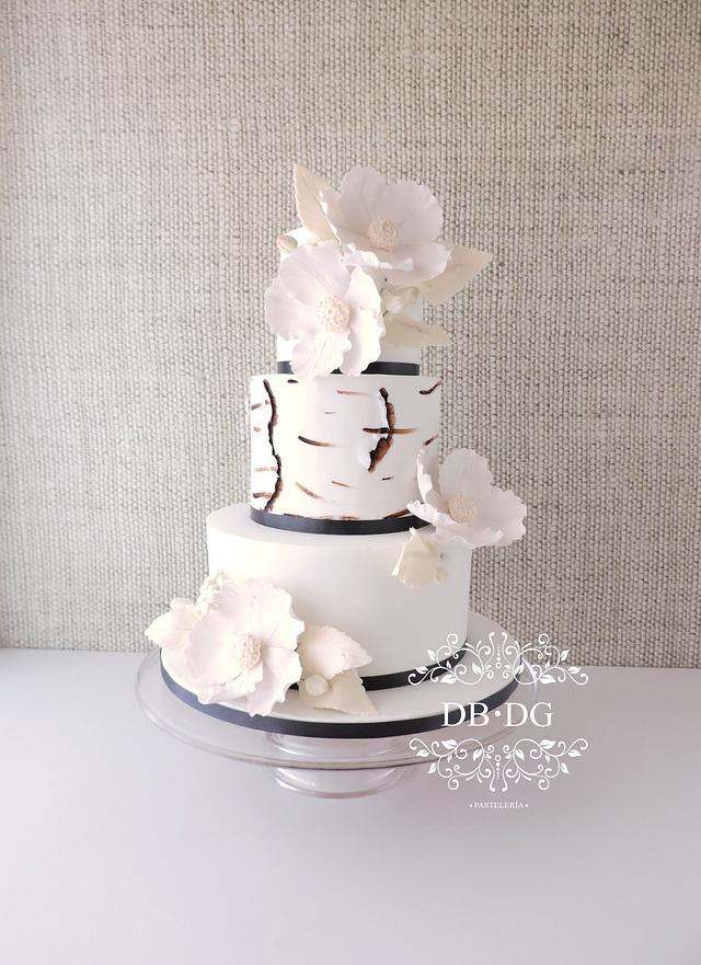 Modern white rustic wedding cake