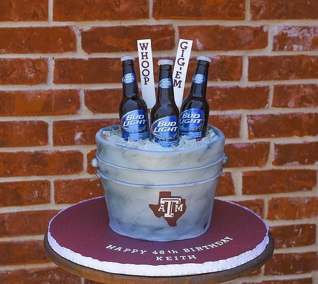 Texas A&M Beer Bucket Cake