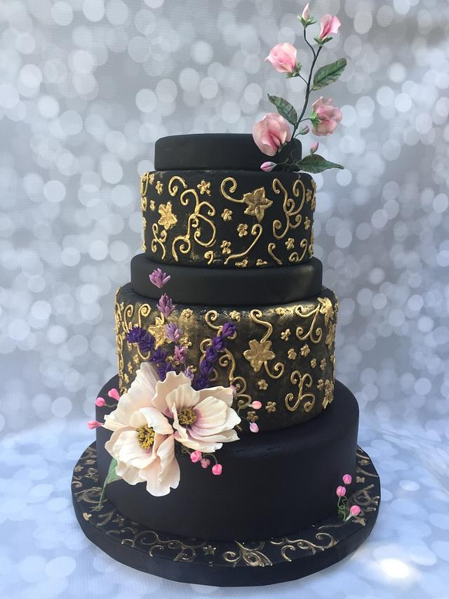Flowery Night Wedding Cake