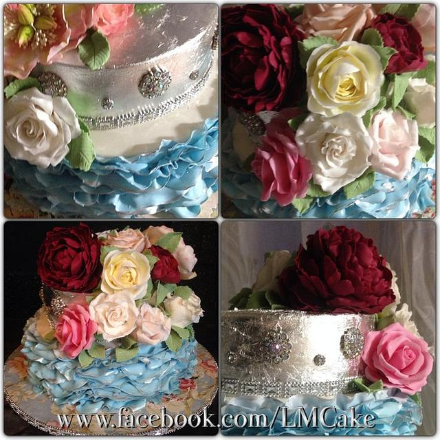 Blue Ruffles and Silver Leaf Engagement cake, with sugar flowers x (last cake for 2013!)