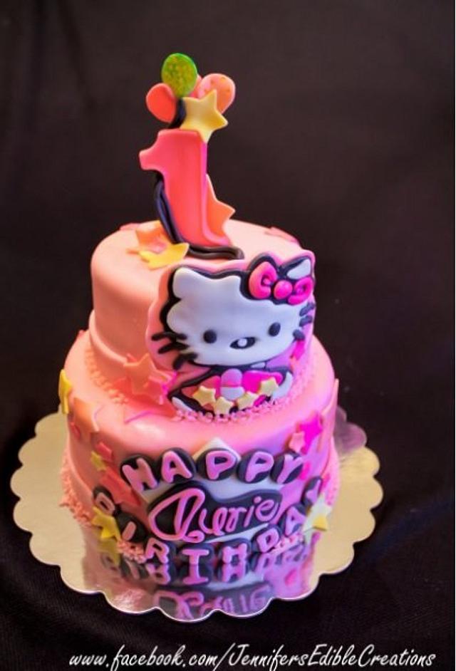 Brilliant Hello Kitty 1St Birthday Cake By Jennifers Edible Cakesdecor Personalised Birthday Cards Veneteletsinfo
