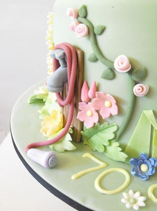 70th Birthday Cake with English Country Garden