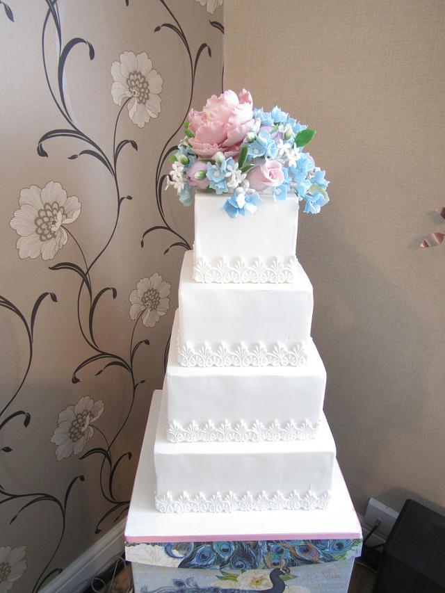 Pastel Blooms Wedding Cake