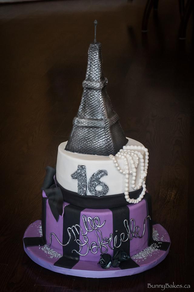 Paris themed sweet 16 cake