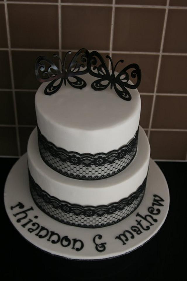 Black & White Engagement Cake
