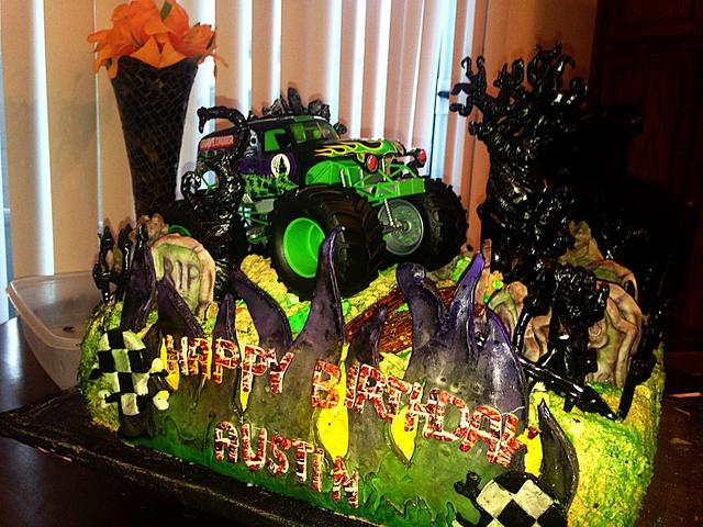 Surprising Grave Digger Monster Truck Birthday Cake Cake By Cakesdecor Funny Birthday Cards Online Elaedamsfinfo