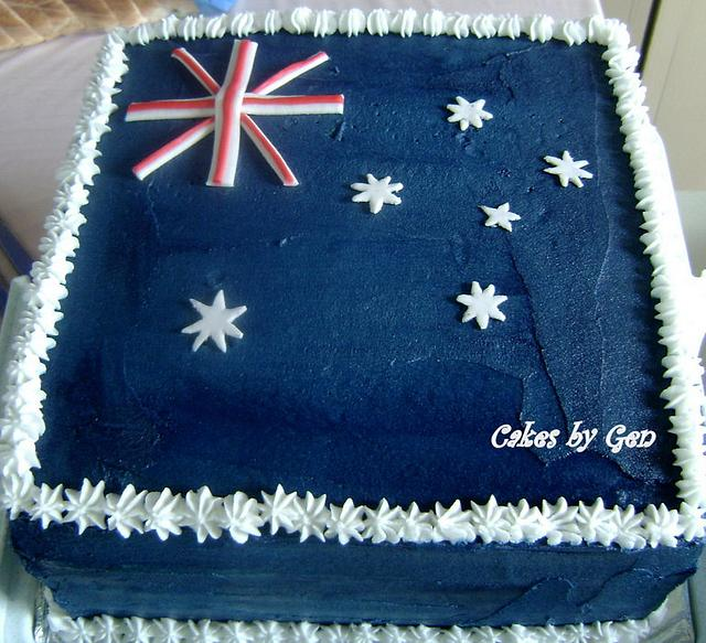 Australian Flag Rainbow Cake