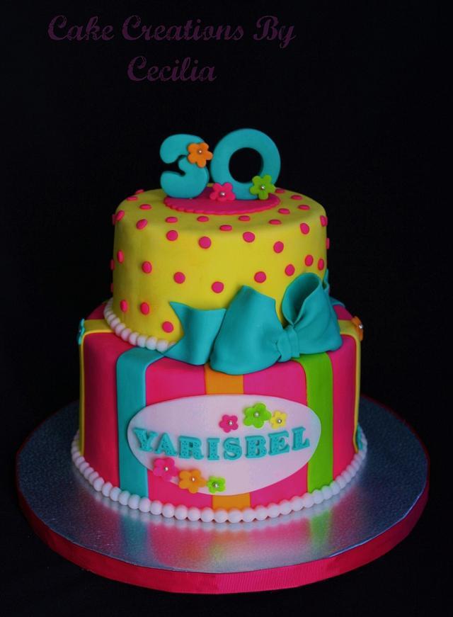 Amazing Neon Birthday Cake Cake By Cakecreationscecilia Cakesdecor Birthday Cards Printable Riciscafe Filternl
