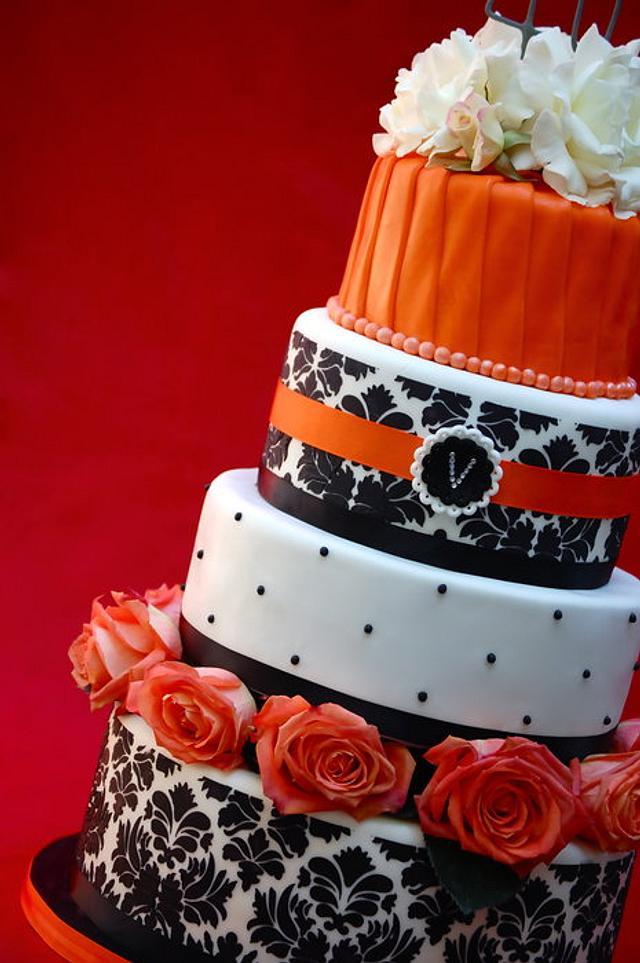 Black, White and Orange Damask