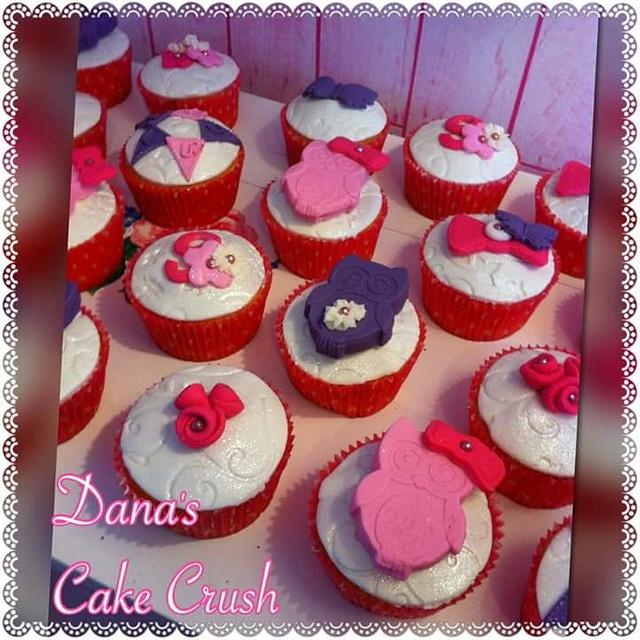 Owl themed cupcakes purple pink