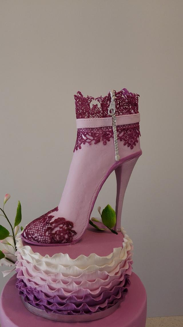 Heel boot and orchid