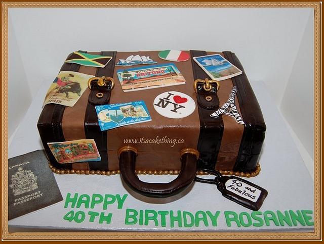 Suitcase Travels Birthday Cake