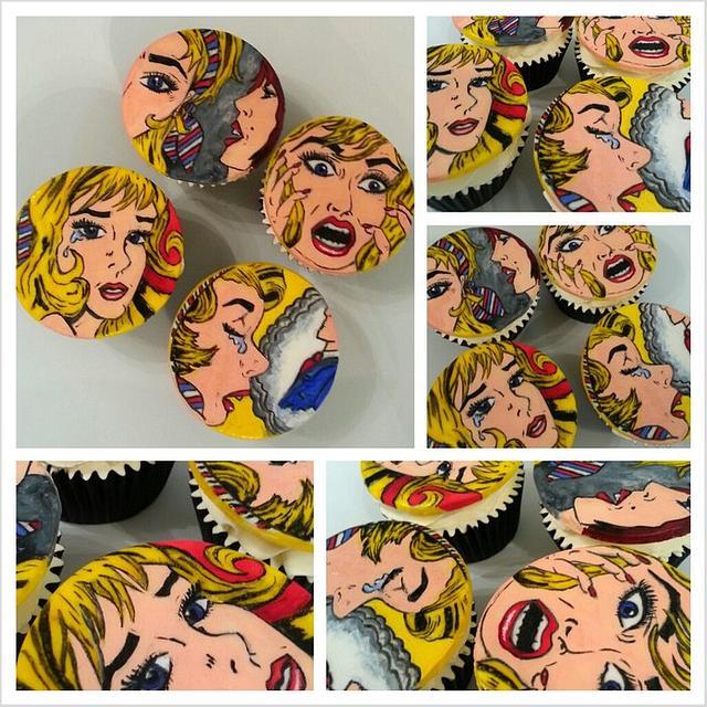 my  handpainted POP ART  cupcakes xxx i adore