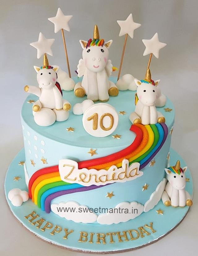 Unicorn theme customized fondant cake for girls 10th