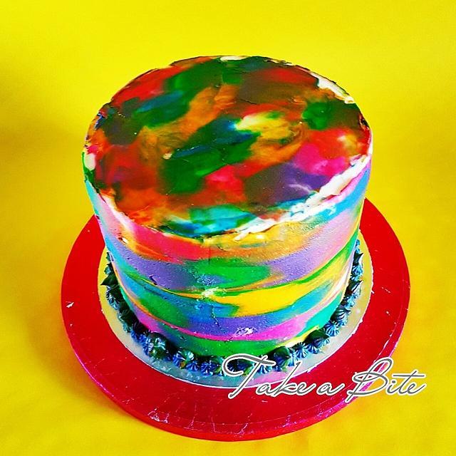 Rainbow & watercolour cake