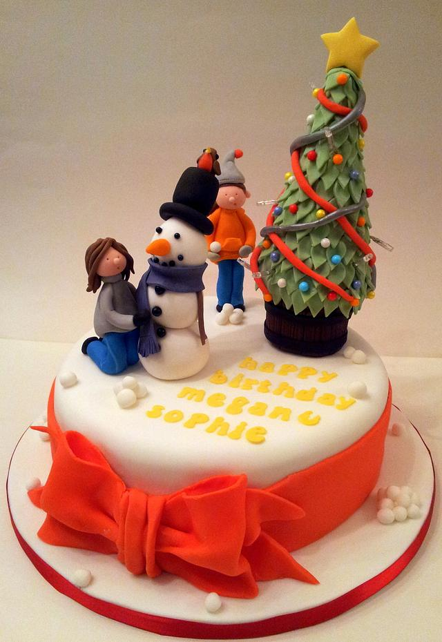 Groovy Christmas Themed Birthday Cake With Lights Cake By Cakesdecor Funny Birthday Cards Online Eattedamsfinfo