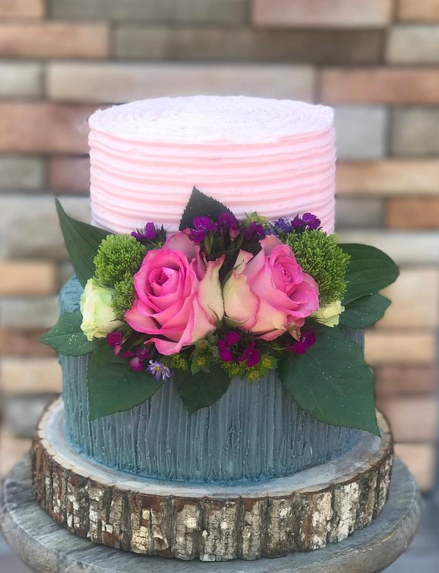 Sensational Floral Birthday Cake Cake By Veronica Matteson Cakesdecor Birthday Cards Printable Opercafe Filternl