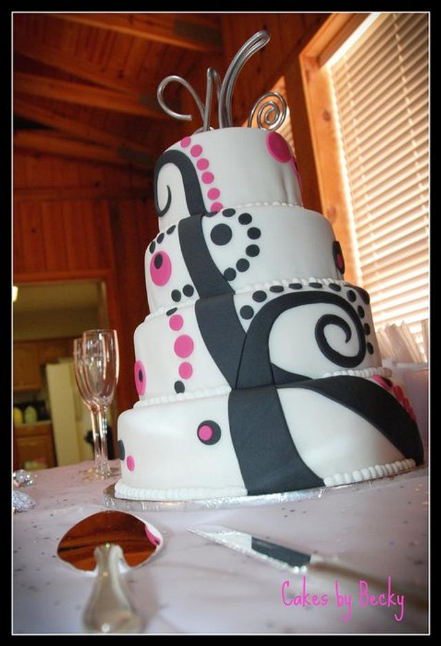 Funky Pink and Black Wedding Cake