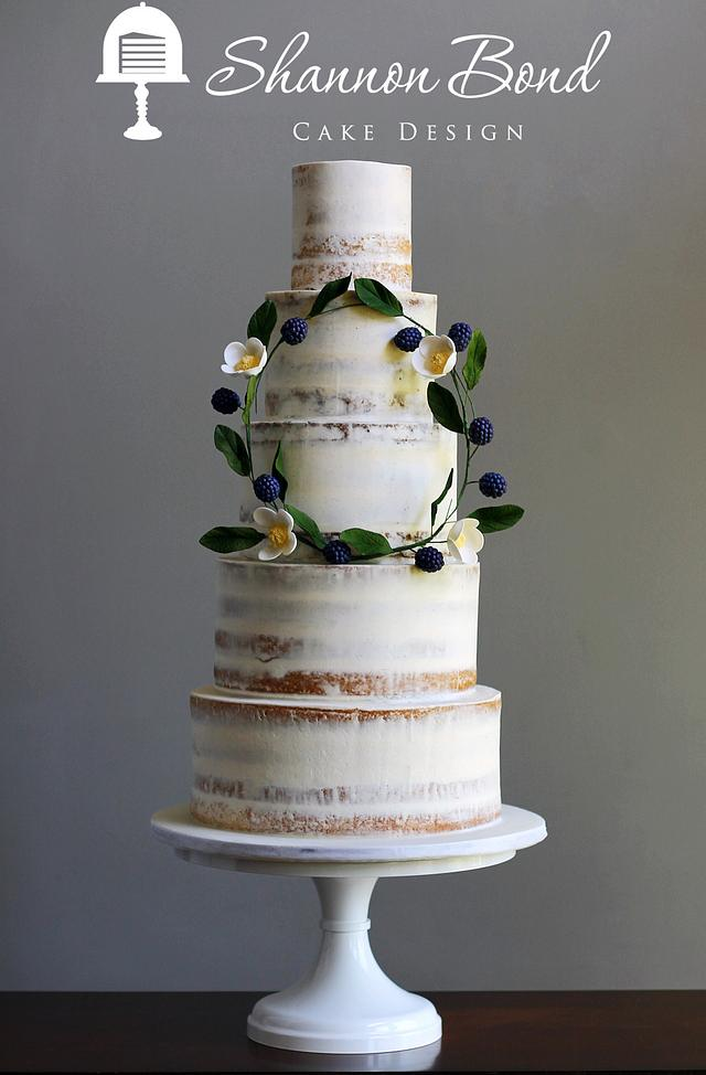 Semi-naked Wedding Cake with Floral Wreath