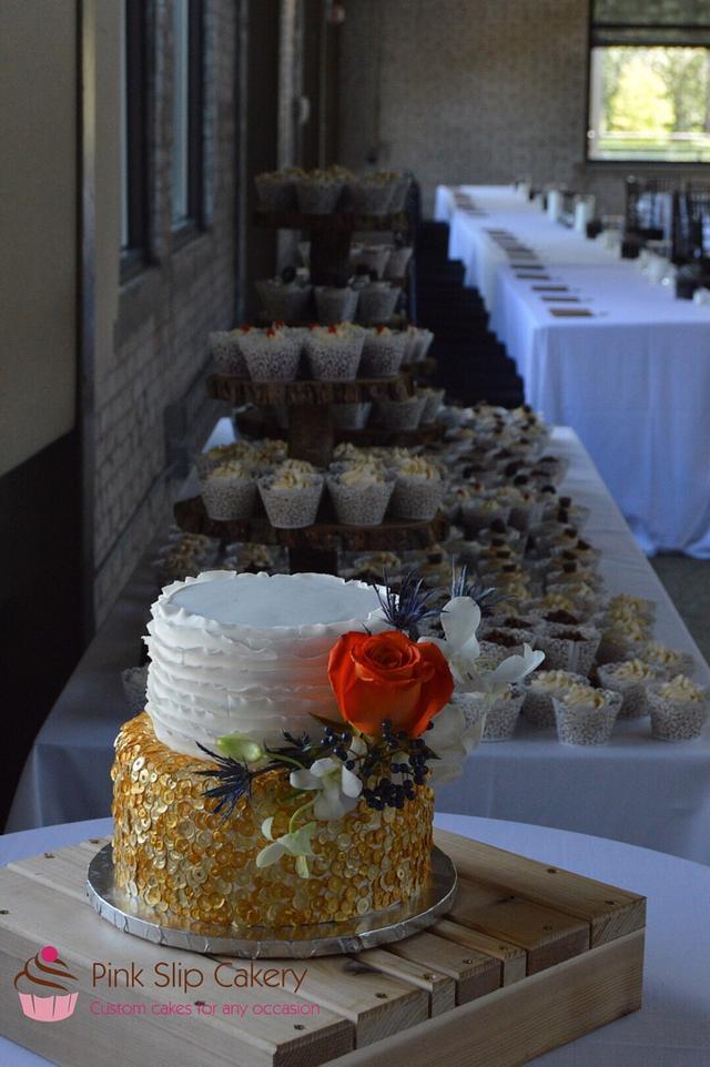 Sequins & Ruffles wedding cake