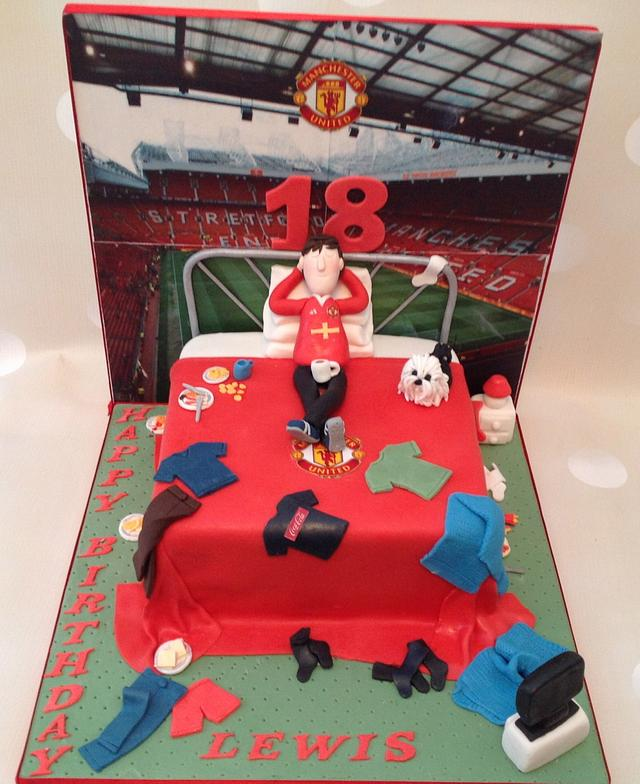 Excellent Manchester United Inspired Messy Bedroom Cake For An 18 Cakesdecor Personalised Birthday Cards Arneslily Jamesorg
