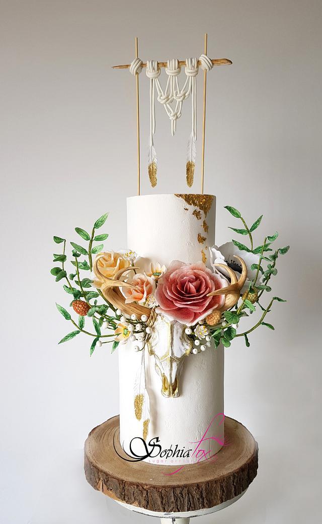 Boho Chic Wedding Cake by Sophia Fox