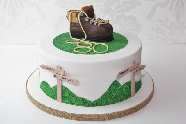 Walking theme birthday cake