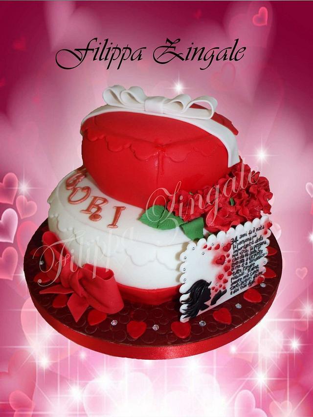 Red & white love cake