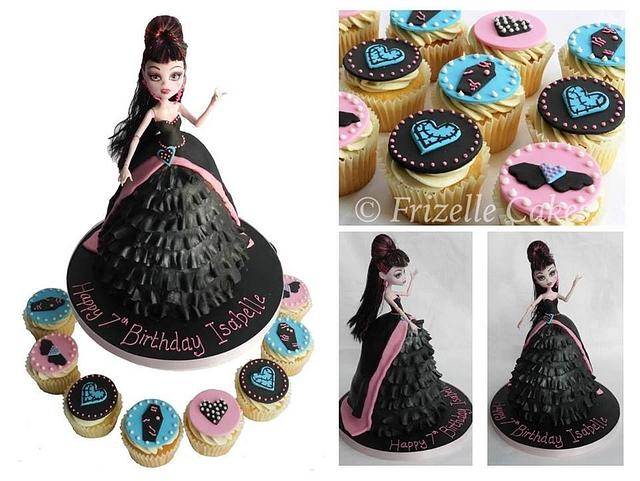 Monster High Draculaura cake and cupcakes