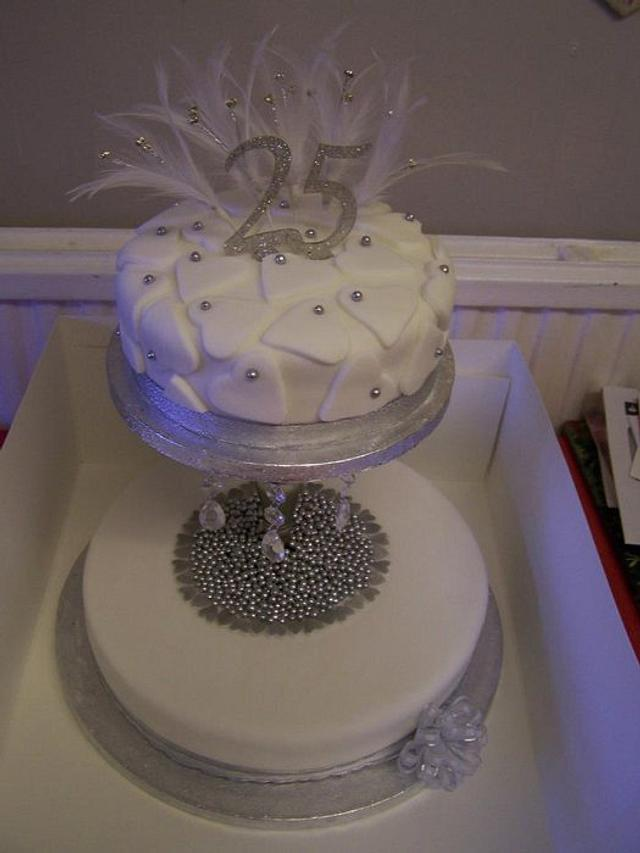 25th Anniversary cake silver and white